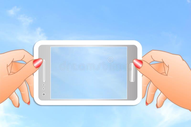 Ícone do telefone celular à disposição no fundo do céu ilustração do vetor