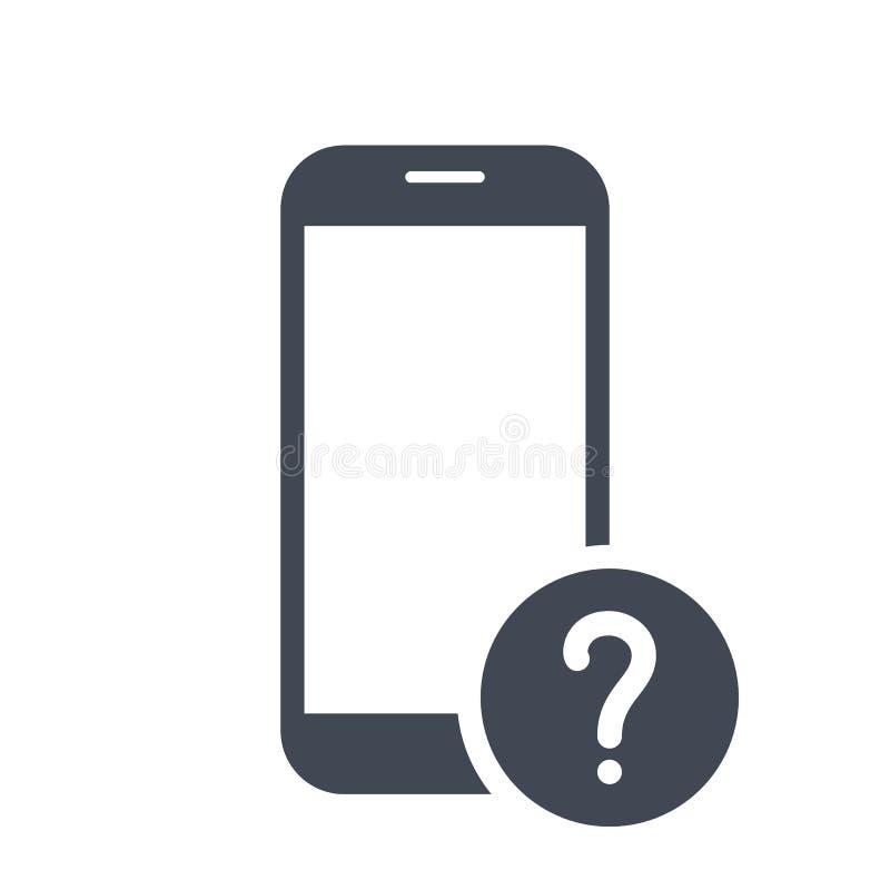 Ícone do telefone celular com ponto de interrogação Ícone e ajuda do telefone celular, como a, informação, símbolo da pergunta ilustração stock