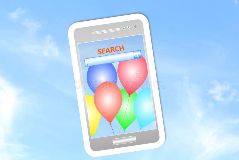 Ícone do telefone celular no fundo do céu fotos de stock