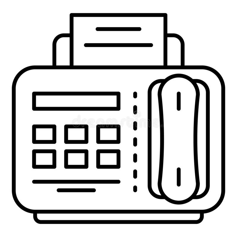 Ícone do telefone do fax, estilo do esboço ilustração stock