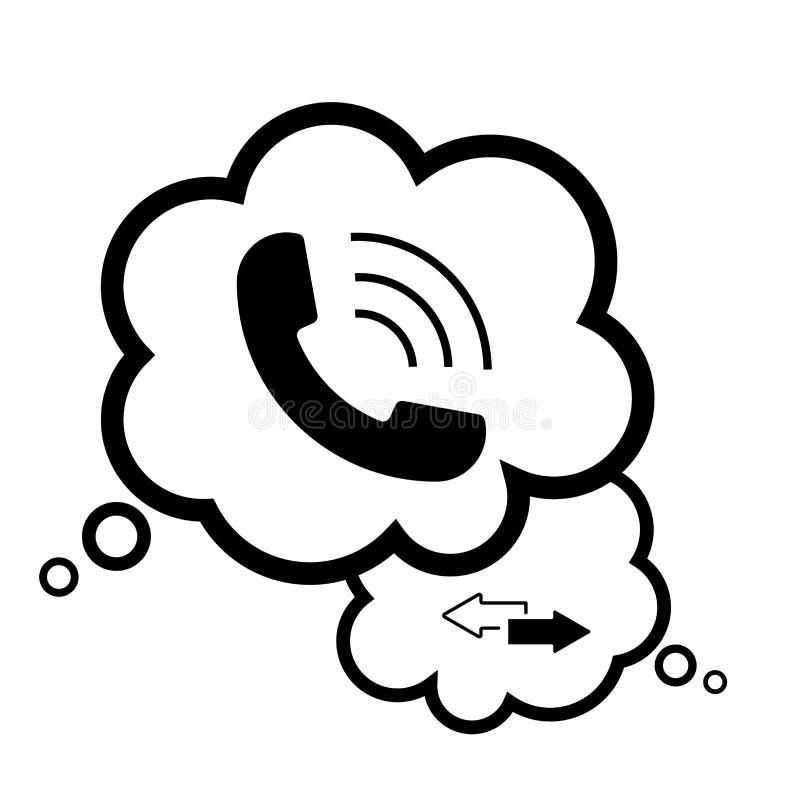 Ícone do telefone no estilo liso na moda da bolha do discurso ilustração stock