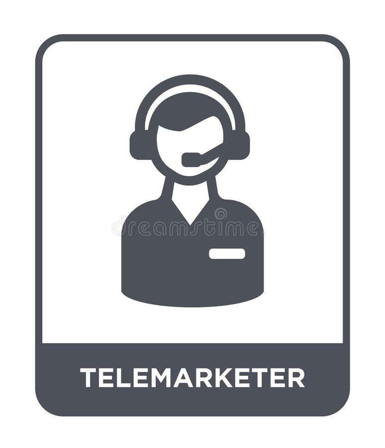 ícone do telemarketer no estilo na moda do projeto Ícone do Telemarketer isolado no fundo branco ícone do vetor do telemarketer s ilustração royalty free