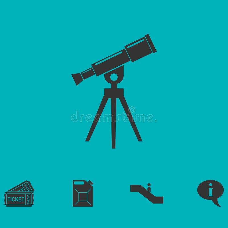 Ícone do telescópio liso ilustração royalty free