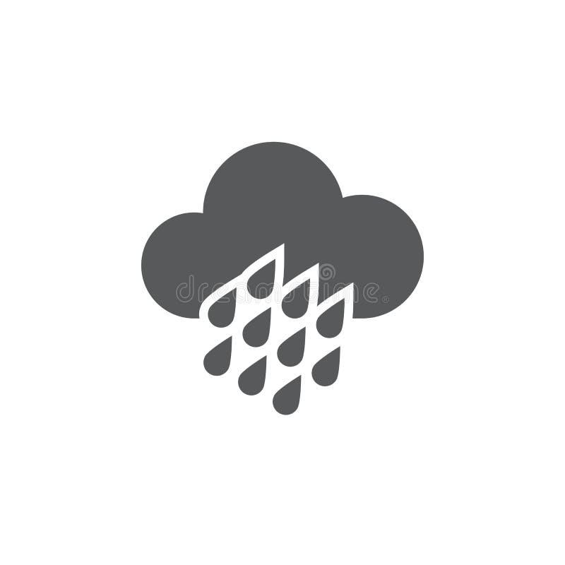 Ícone do tempo da chuva pesada isolado no fundo branco Ilustração do vetor ilustração royalty free