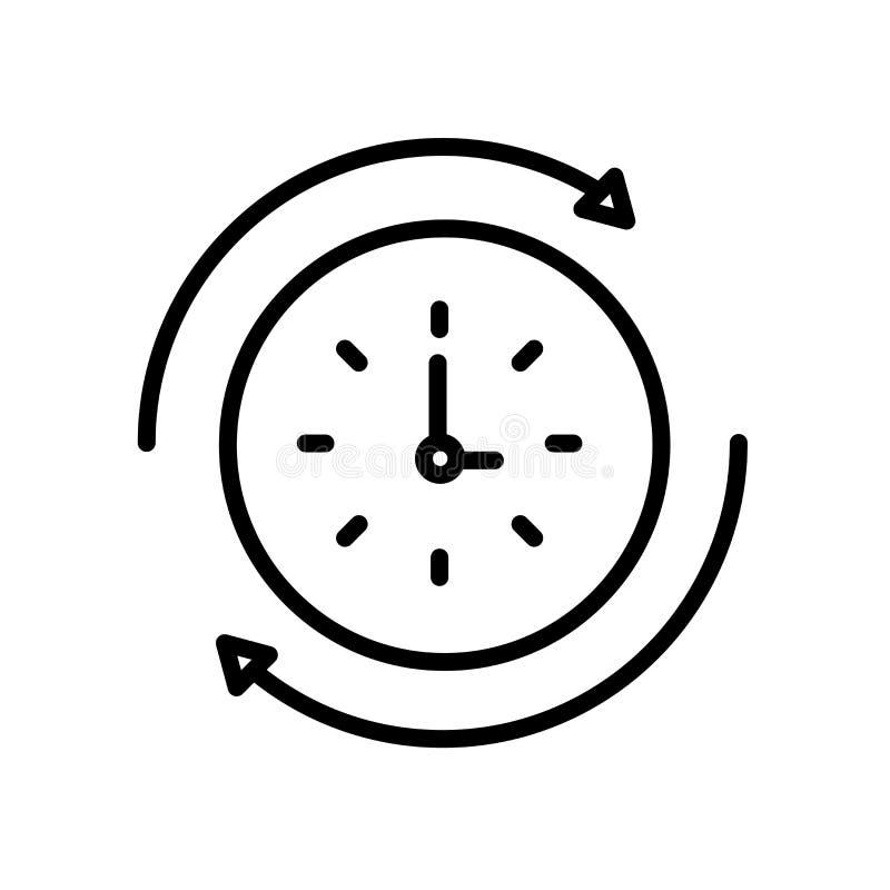 Ícone do tempo de rebobinação isolado no fundo branco ilustração royalty free
