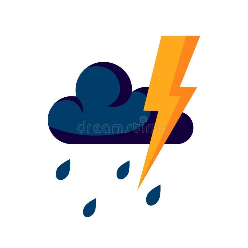 Ícone do temporal no estilo liso, vetor simples ilustração do vetor