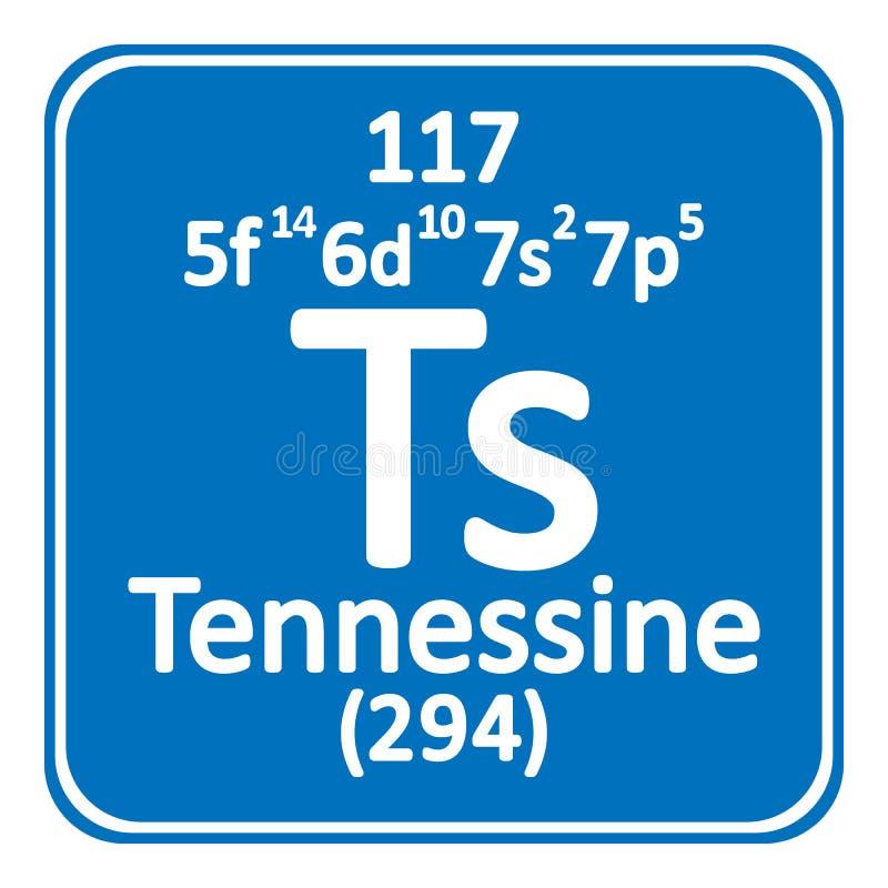 Ícone do tennessine do elemento de tabela periódica ilustração do vetor