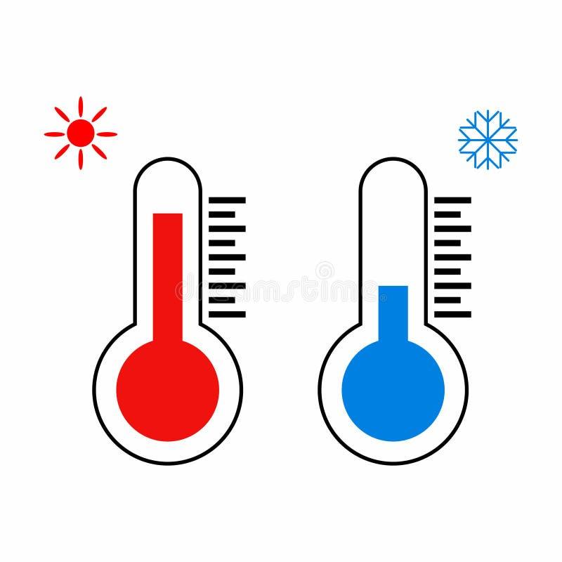 Ícone do termômetro Termômetros que medem o calor e o frio ilustração royalty free