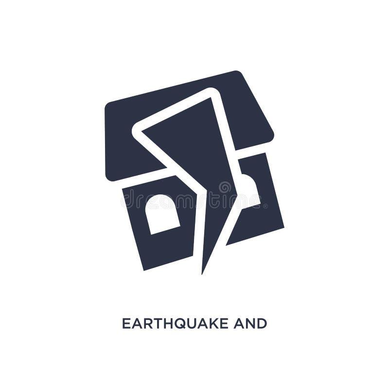 ícone do terremoto e da casa no fundo branco Ilustração simples do elemento do conceito da meteorologia ilustração royalty free