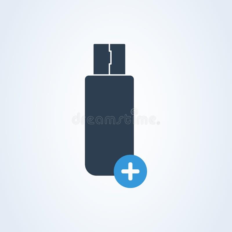 Ícone do tipo-c do usb do vetor e da memória de USB-c positivo e para adicionar a memória ilustração stock