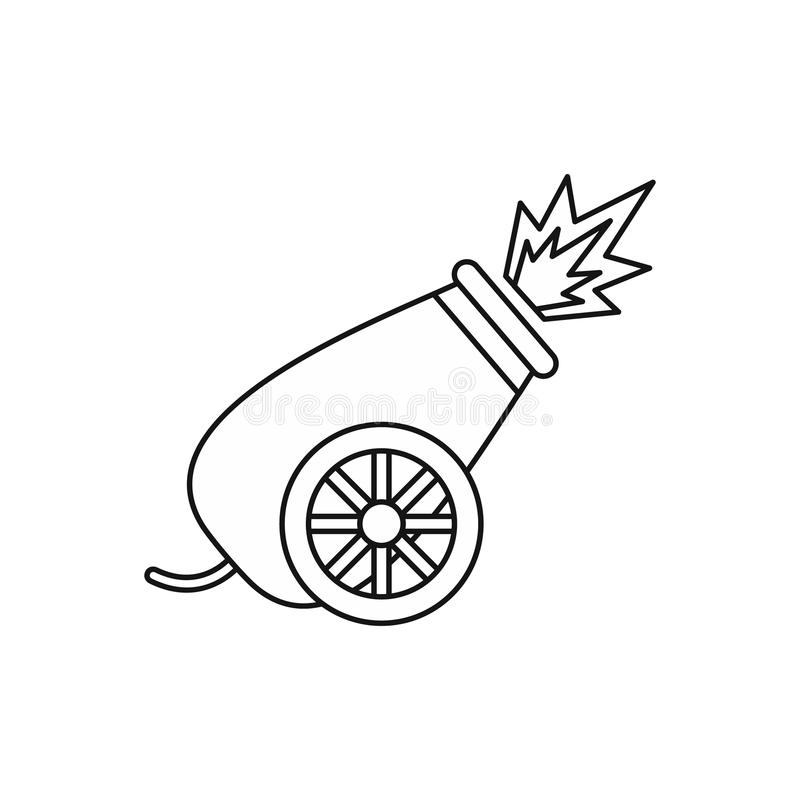 Ícone do tiro do canhão do circo, estilo do esboço ilustração royalty free