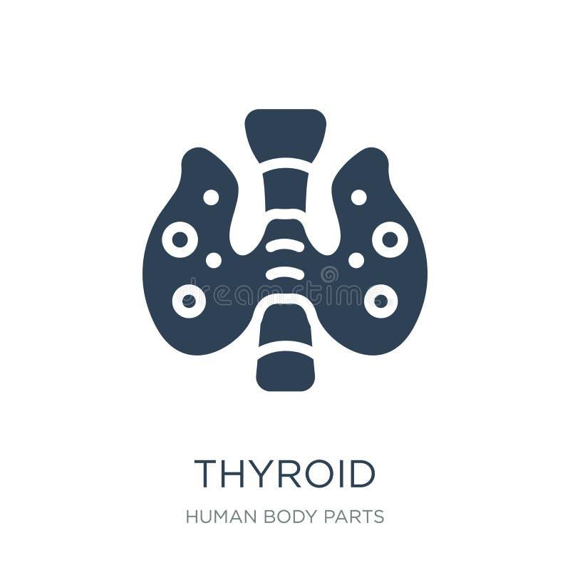 ícone do tiroide no estilo na moda do projeto Ícone do tiroide isolado no fundo branco símbolo liso simples e moderno do ícone do ilustração royalty free