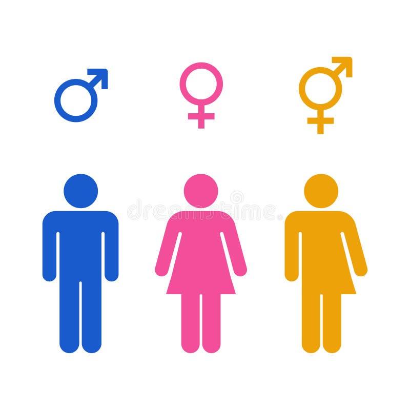 Ícone do toalete do gênero do vetor colorido ilustração do vetor