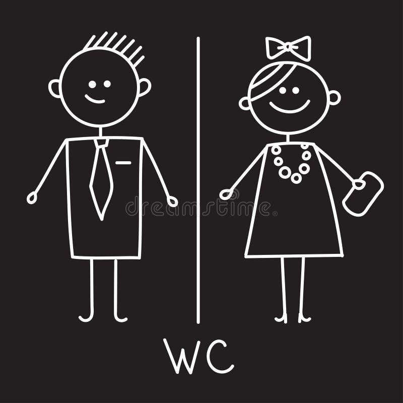 Ícone do toalete Sinal simples do WC Sinal do WC dos homens e das mulheres para o toalete Símbolo do vetor Esboço do giz na placa ilustração do vetor