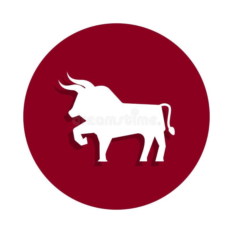 ícone do touro no estilo do crachá Um do ícone da coleção de spain pode ser usado para UI, UX ilustração stock