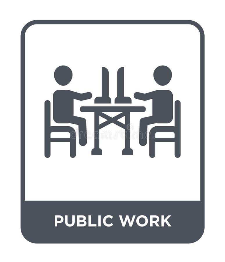 ícone do trabalho público no estilo na moda do projeto ícone do trabalho público isolado no fundo branco ícone do vetor do trabal ilustração stock