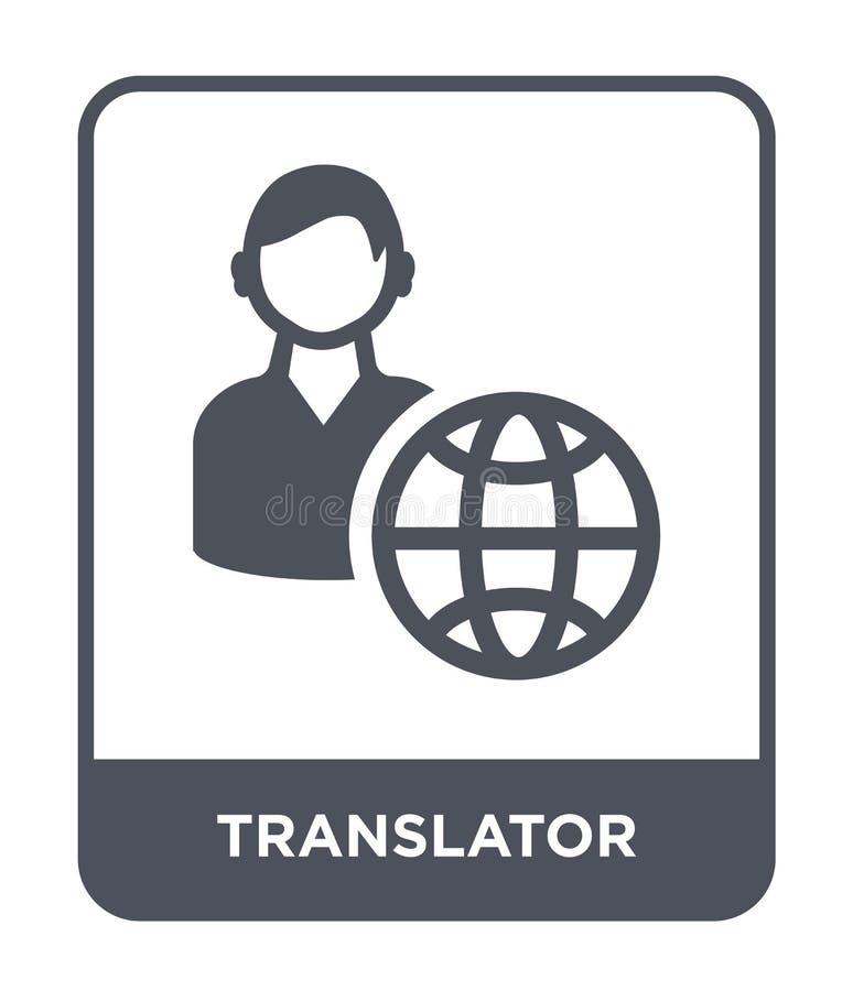 ícone do tradutor no estilo na moda do projeto Ícone do tradutor isolado no fundo branco ícone do vetor do tradutor simples e mod ilustração royalty free