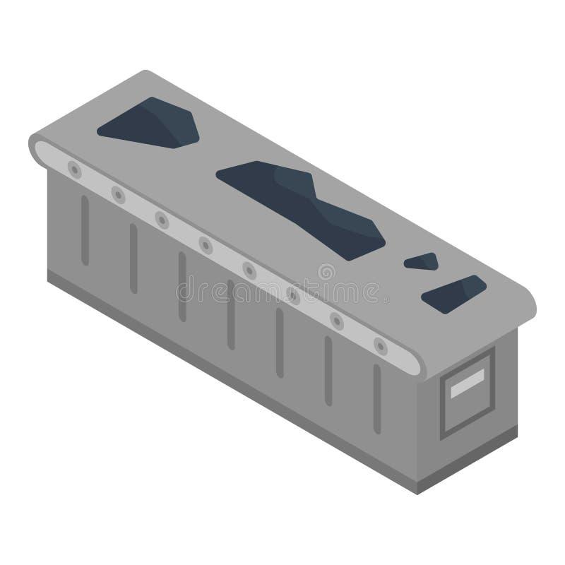 Ícone do transporte de carvão, estilo isométrico ilustração stock