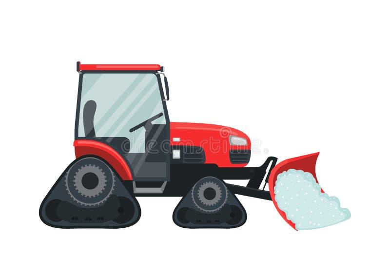 Ícone do trator da neve no estilo liso isolado no branco ilustração do vetor