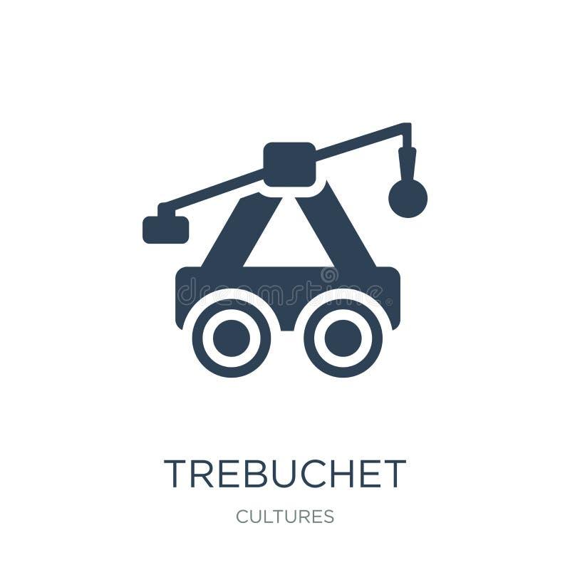 ícone do trebuchet no estilo na moda do projeto ícone do trebuchet isolado no fundo branco plano simples e moderno do ícone do ve ilustração do vetor