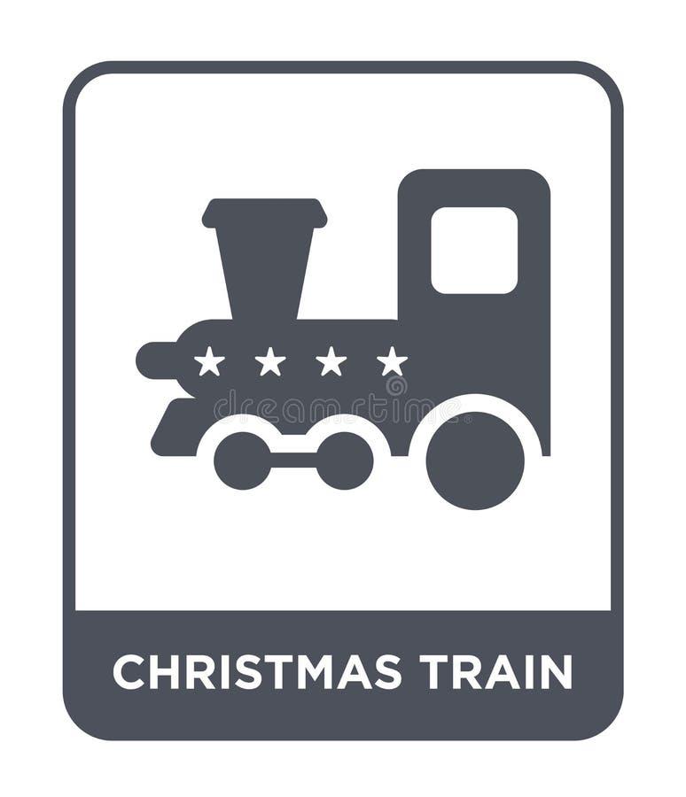 ícone do trem do Natal no estilo na moda do projeto ícone do trem do Natal isolado no fundo branco ícone do vetor do trem do Nata ilustração royalty free