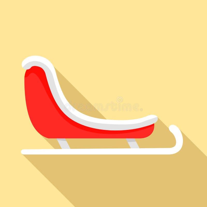 Ícone do trenó de Santa, estilo liso ilustração royalty free