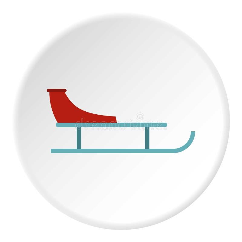 Ícone do trenó, estilo liso ilustração stock