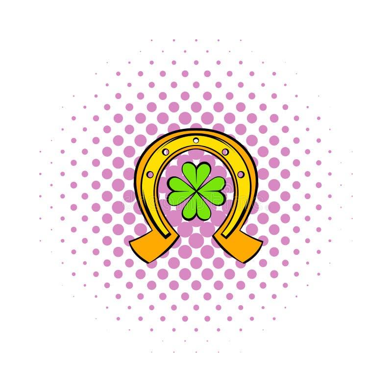 Ícone do trevo da ferradura e das quatro folhas, estilo da banda desenhada ilustração royalty free