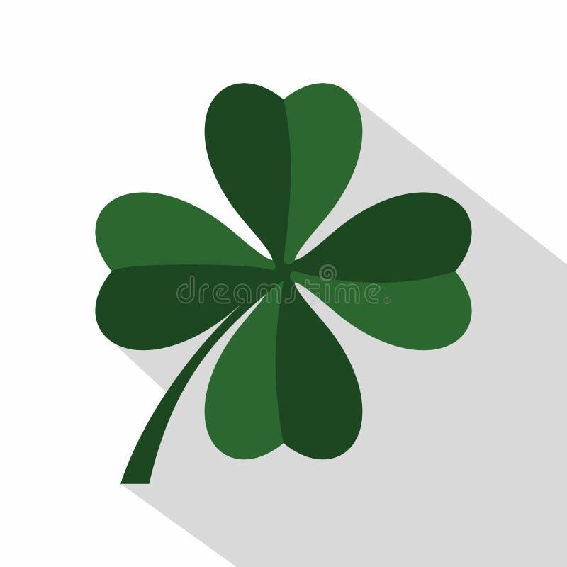 Ícone do trevo da folha do verde quatro, estilo liso ilustração do vetor