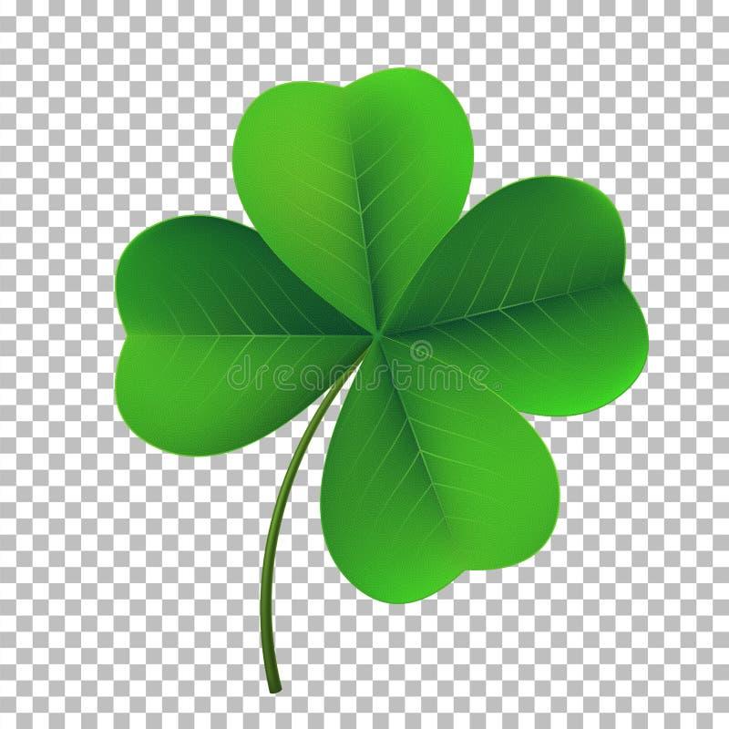 Ícone do trevo do trevo da quatro-folha do vetor Símbolo fower-folheado afortunado do dia irlandês do ` s de St Patrick do festiv ilustração stock