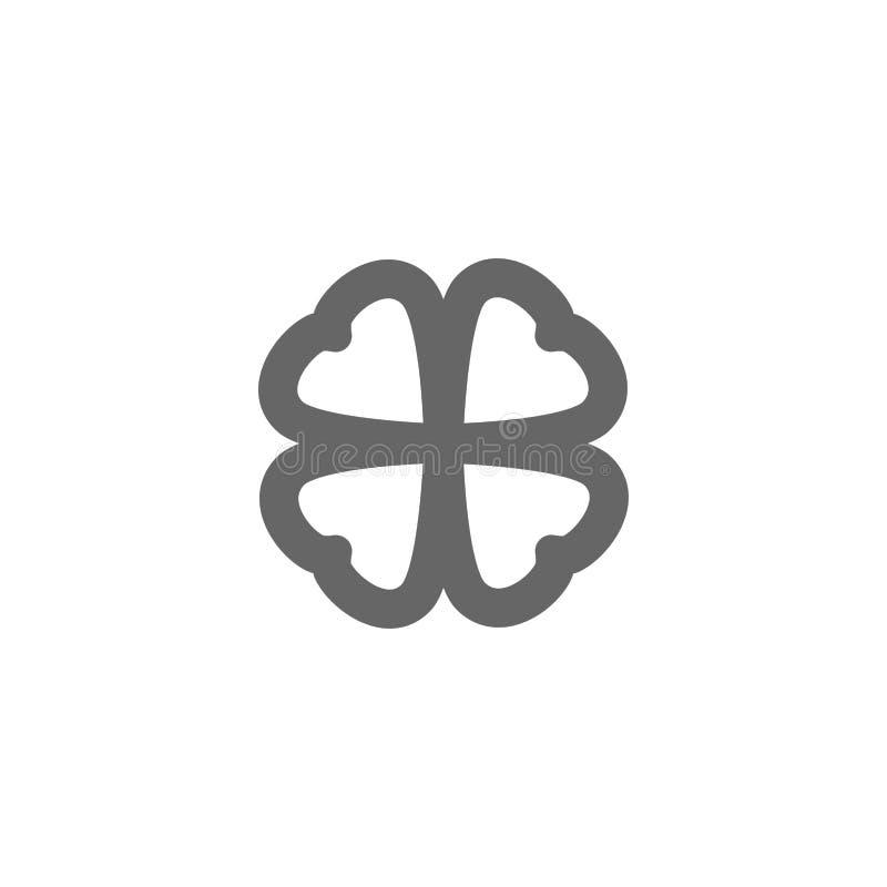 Ícone do trevo de quatro folhas Esboço preto da erva isolado no branco Ilustração do dia de St Patrick Projeto liso ilustração stock