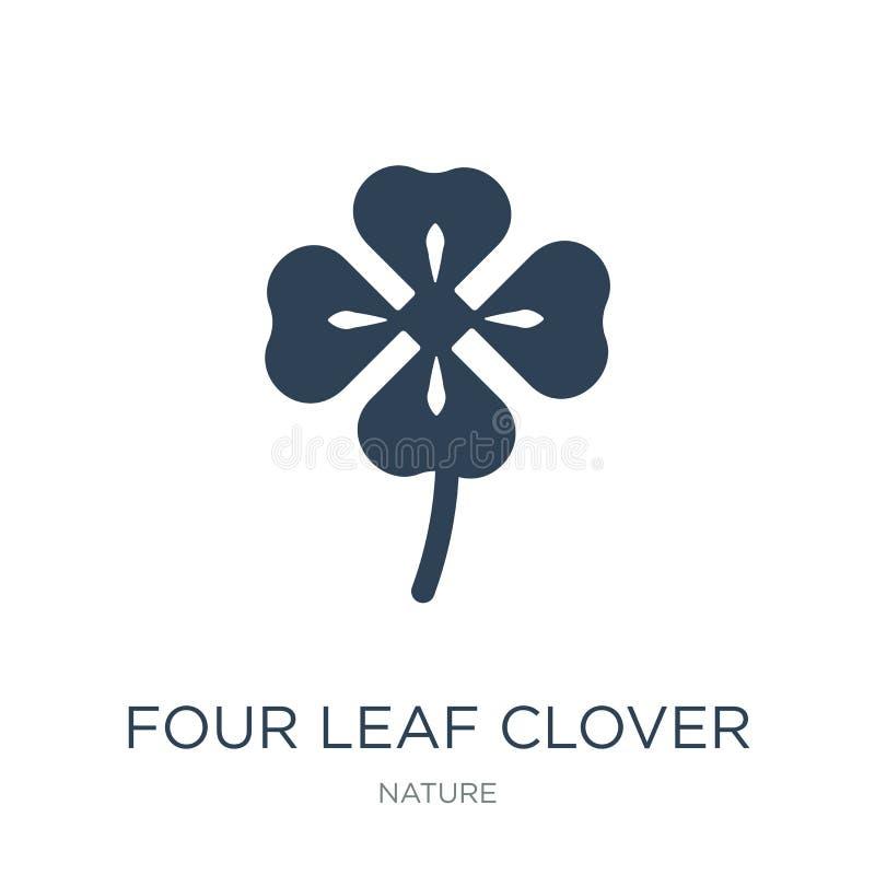 ícone do trevo de quatro folhas no estilo na moda do projeto ícone do trevo de quatro folhas isolado no fundo branco Ícone do vet ilustração do vetor