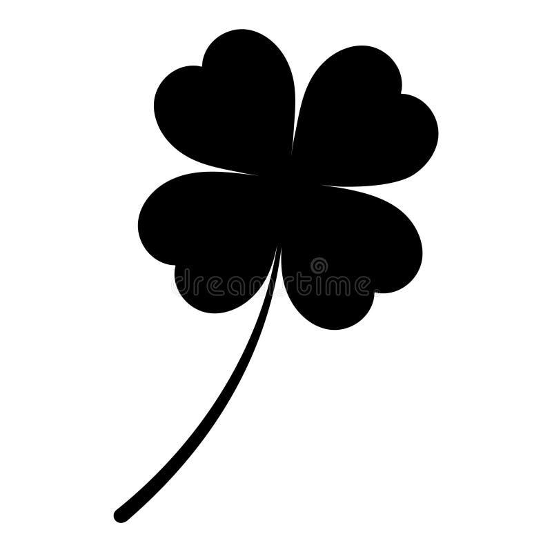 Ícone do trevo de quatro folhas Ícone preto isolado no fundo branco Silhueta do trevo Ícone simples Página da site e desig móvel  ilustração royalty free