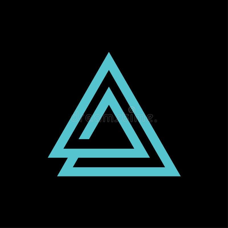 Ícone do triângulo com letras um molde do vetor do logotipo ilustração do vetor