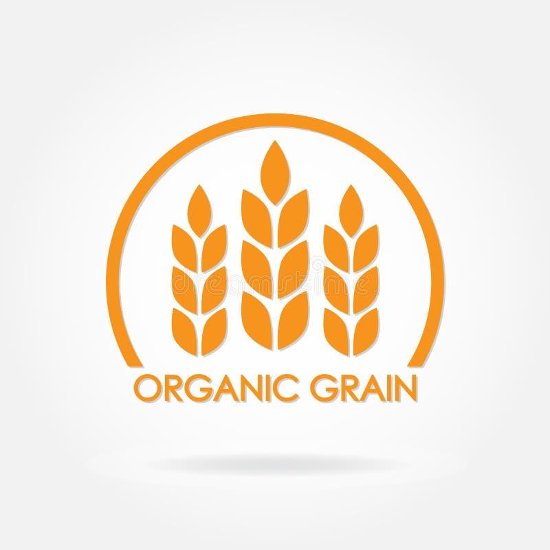 Ícone do trigo ou do arroz Símbolo orgânico da grão Projete o elemento para produtos orgânicos, padaria, pão, alimento saudável I ilustração royalty free