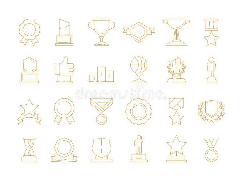 Ícone do troféu Linha fina dos sinais do vetor das recompensas dos vencedores do esporte da qualidade do copo da concessão ilustração stock