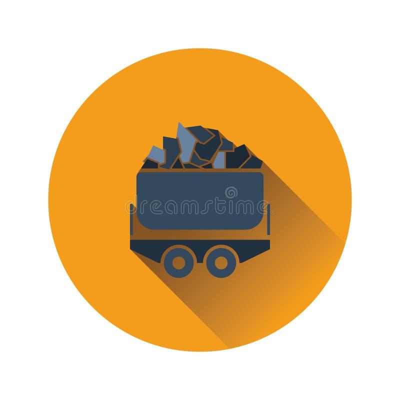 Ícone do trole de carvão da mina ilustração stock