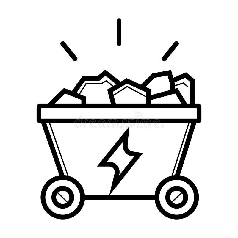 Ícone do trole de carvão Vetor ilustração royalty free