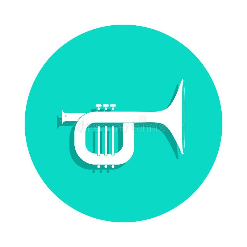 ícone do trombone no estilo do crachá Um do ícone da coleção dos instrumentos de música pode ser usado para UI, UX ilustração royalty free
