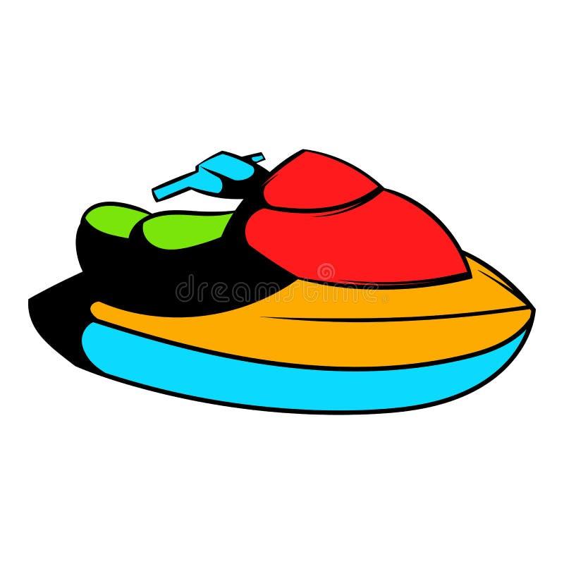 Ícone do 'trotinette' da água do esqui do jato, desenhos animados do ícone ilustração stock