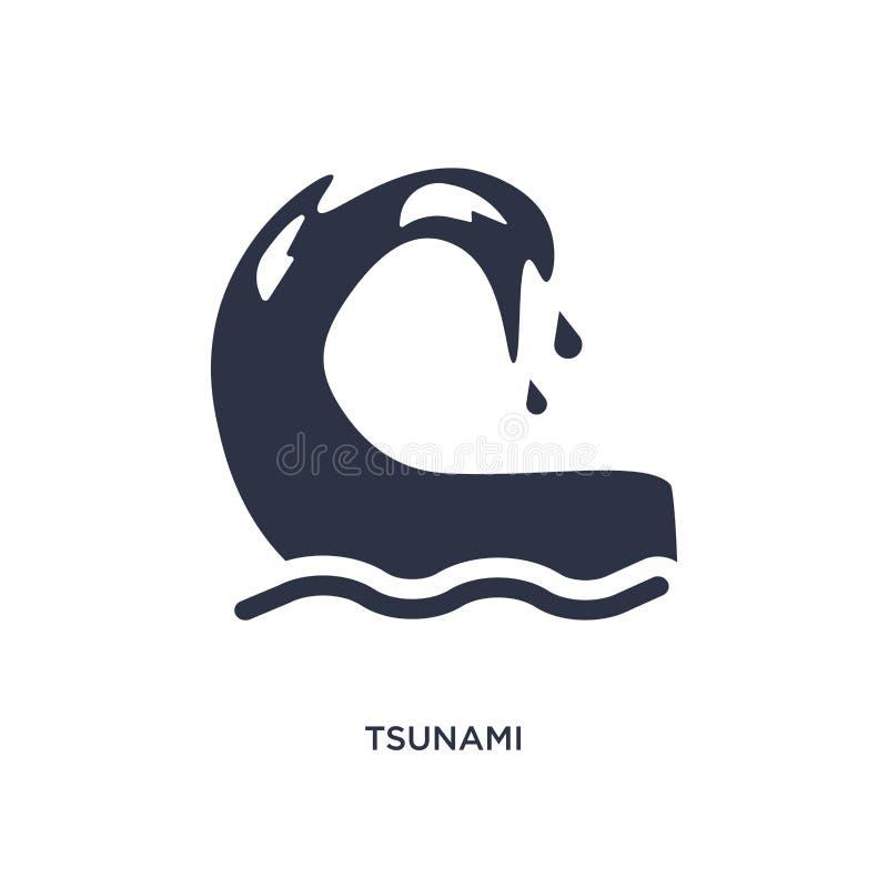ícone do tsunami no fundo branco Ilustração simples do elemento do conceito do tempo ilustração do vetor