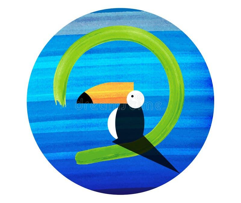 Ícone do tucano Ilustração dos desenhos animados do ícone do vetor do tucano para a Web Molde liso isolado, cor do logotipo do ve ilustração royalty free
