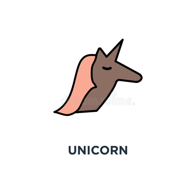 ícone do unicórnio, símbolo do animal mítico que representa a raridade estatística de riscos bem sucedidos, unicórnio mágico cor- ilustração royalty free