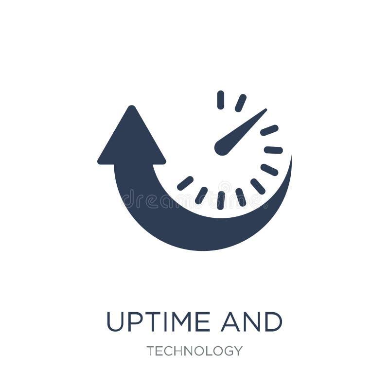 Ícone do Uptime e do tempo ocioso da máquina Uptime liso na moda e tempo ocioso da máquina do vetor ilustração stock