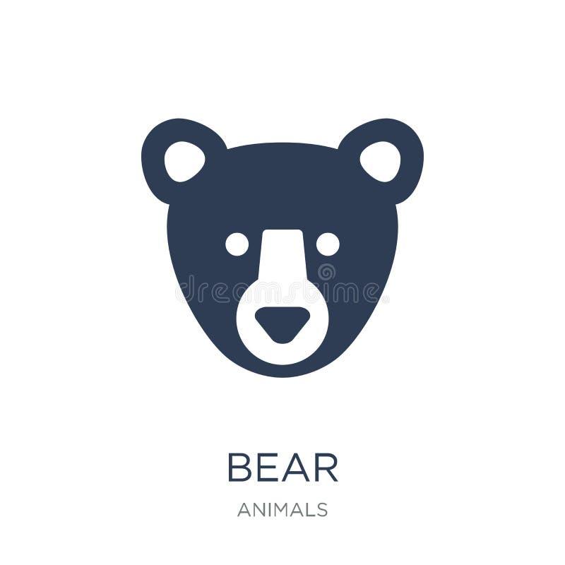 Ícone do urso Ícone liso na moda do urso do vetor no fundo branco de ilustração royalty free