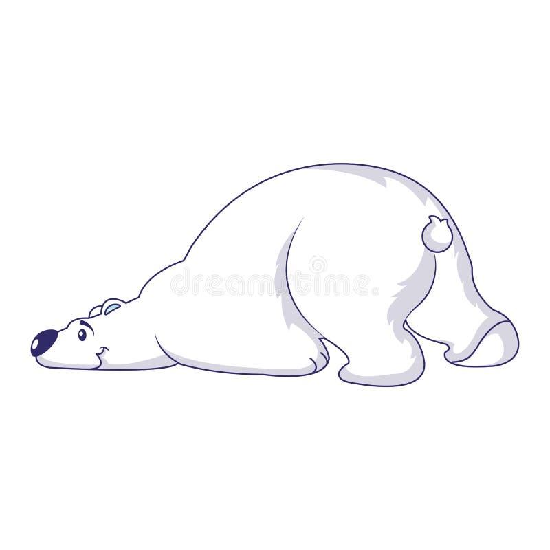 Ícone do urso polar do sono, estilo dos desenhos animados ilustração stock