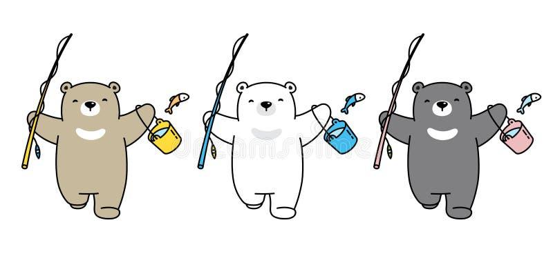 ?cone do urso polar do vetor do urso que pesca a garatuja da ilustra??o da peluche do logotipo dos desenhos animados do car?ter ilustração royalty free