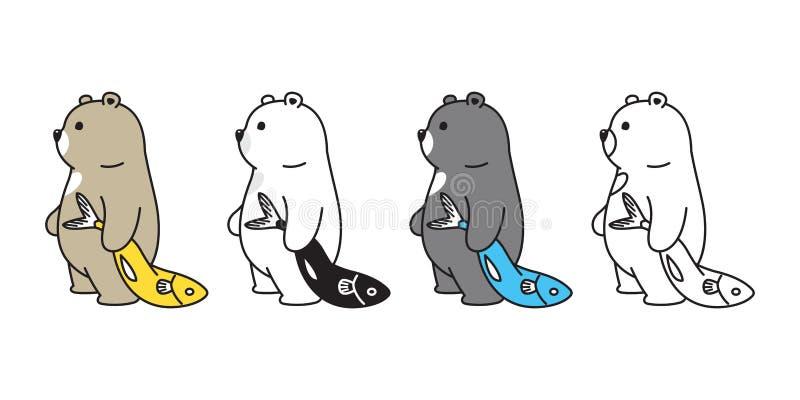 Ícone do urso polar do vetor do urso que pesca a ilustração da peluche do logotipo do personagem de banda desenhada do atum dos s ilustração stock