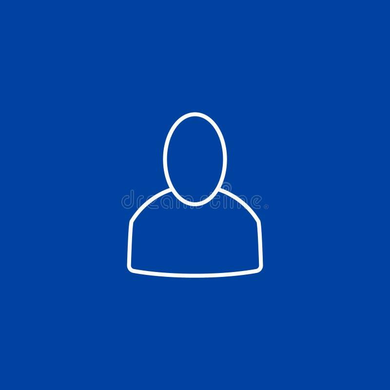 Ícone do usuário do esboço no fundo azul ilustração do vetor