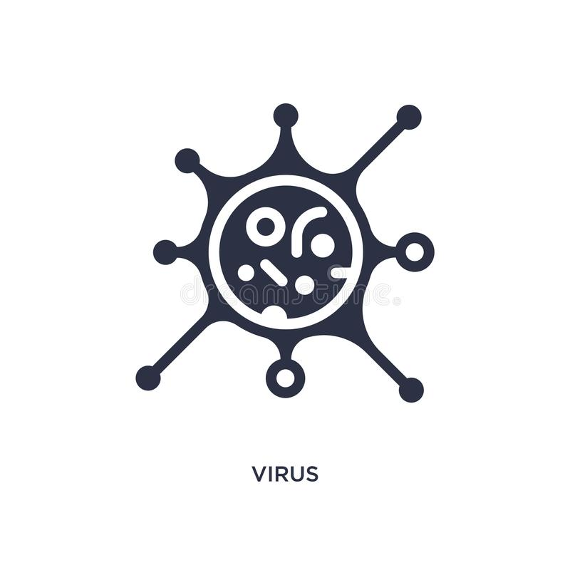 Ícone do vírus no fundo branco Ilustração simples do elemento do conceito da educação ilustração do vetor